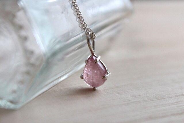 桜ドロップ silver necklace (ピンクトルマリン)の画像1枚目