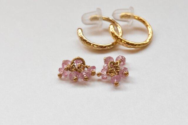 [EC] Bouquet (Pink Sapphire) Ear Clipsの画像1枚目