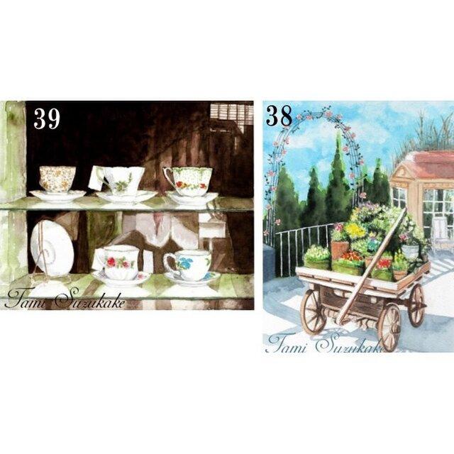 ポストカード「38・アンティークショップ」「39・花車」の画像1枚目