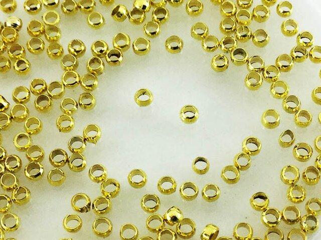 送料無料 かしめ玉 つぶし玉 200個 ゴールド サイズ【 2mm 】 カシメ玉 アクセサリー パーツ AP0399の画像1枚目
