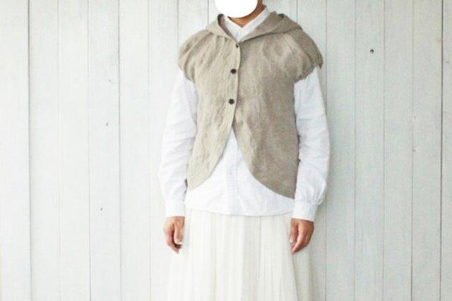 亜麻色リネン育てるフードベストチビパフ袖の画像1枚目