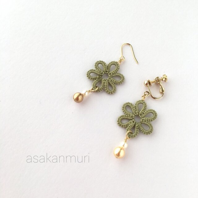 tatting lace earring/pierce【green flower】の画像1枚目