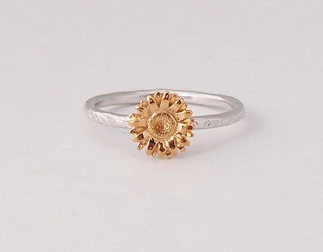 【7号】向日葵ひまわりの指輪SV925製ゴールドメッキの画像1枚目