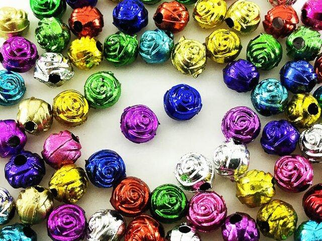 送料無料 ビーズ 薔薇 100個 6mm アンティーク 調 バラ フラワー ロンデル ビーズ 花 チャーム ローズ AP0413の画像1枚目