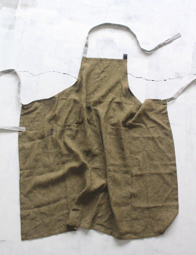 高級リトアニアリネンで作製した男女兼用フルエプロン【オリーブ】の画像1枚目