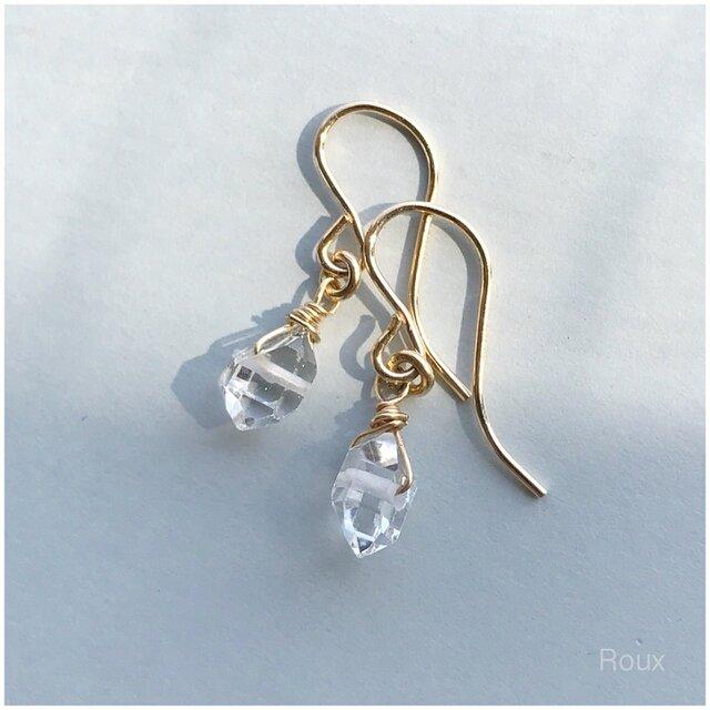 NYハーキマーダイヤモンドのピアスAAA(フック 14kgf )の画像1枚目