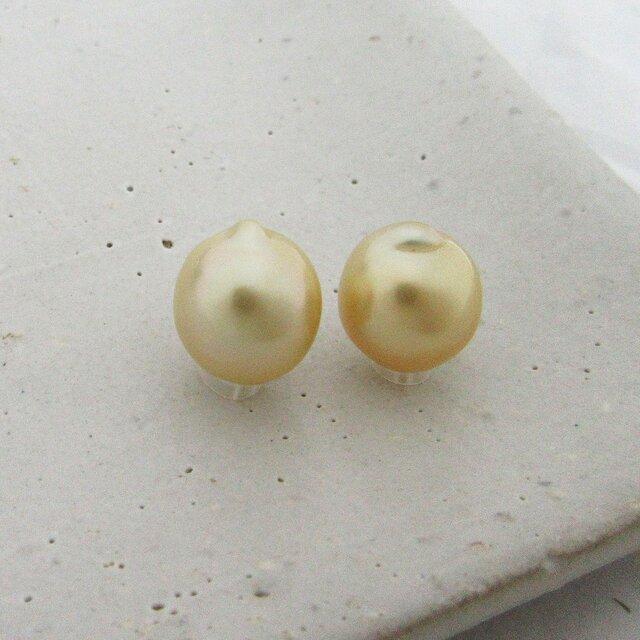 10mm♪ピアスに☆ 白蝶真珠バロック 無穴ルース2Pセット 10-32W2の画像1枚目