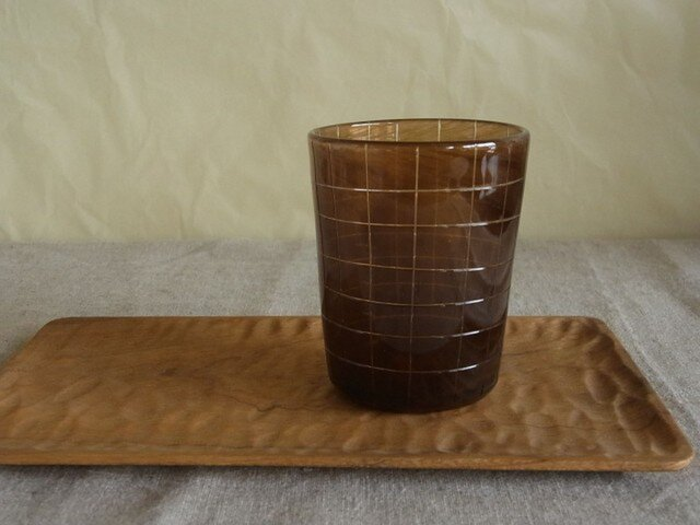 ガラス チェックグラス ブラウンの画像1枚目