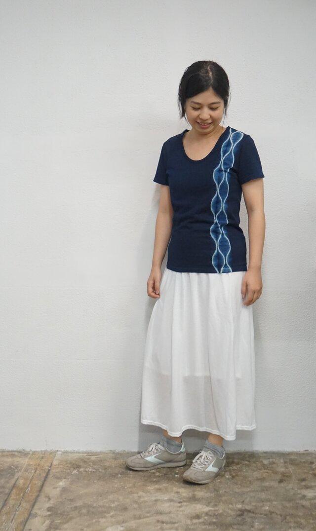 藍染 UネックTシャツ よろけの画像1枚目