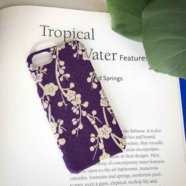 【 KIMONO 】希少☆アンティーク着物iPhoneケース(紫にしだれ梅)の画像1枚目
