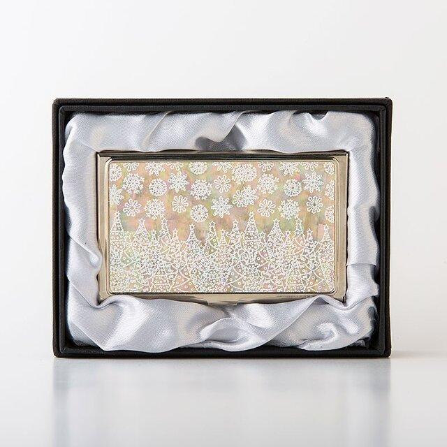クリスマス限定★天然貝 名刺カードケース(ホワイトクリスマス)<螺鈿アート>の画像1枚目