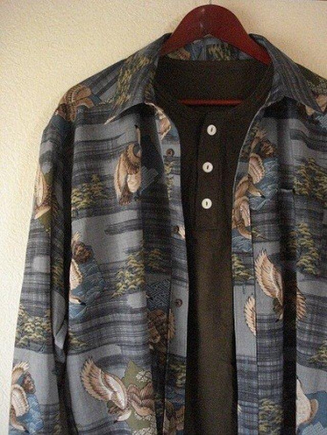 襦袢地のメンズシャツ(鷹) の画像1枚目