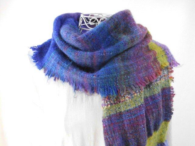 手織り(クリスマスキャロル_1)ウール・金ラメ・ロングストールの画像1枚目