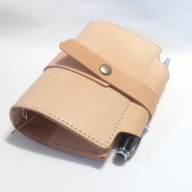 ミニ6穴 筒状ペンホルダーのシステム手帳 B7サイズ パスポートケース SN-001k ヌメ革生成り ノート【受注生産】の画像1枚目