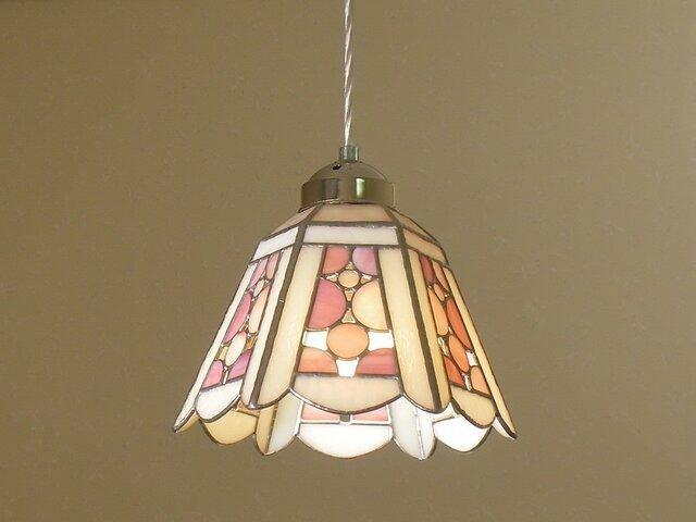 ペンダントライト・シャボンピンク(ステンドグラス)天井のおしゃれガラス照明 Lサイズ・(コード長さ調節可)17の画像1枚目