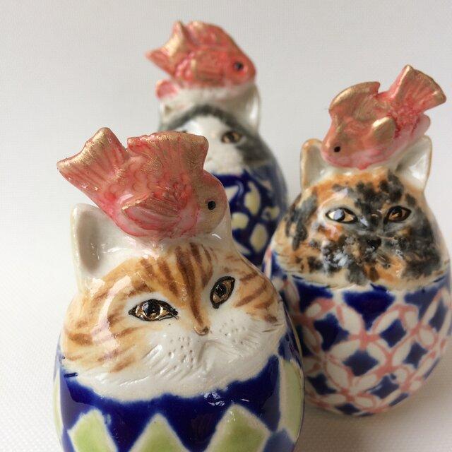 鯛のせ卵猫トリオ(再販)の画像1枚目
