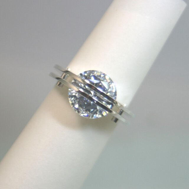 The Parallel Lines Ring Silver CubicZirconia【受注制作】の画像1枚目