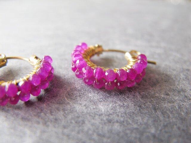 7月誕生石 ピンクルビー14KGF purp×pink 【Pink-Ruby】 フープピアスorイヤリングの画像1枚目