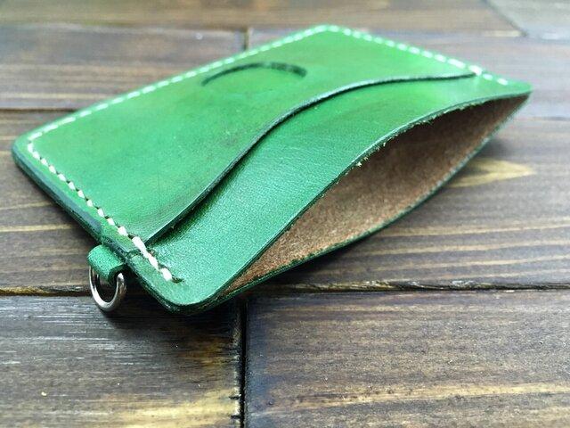 シンプルな窓付きパスケース横型(緑)の画像1枚目