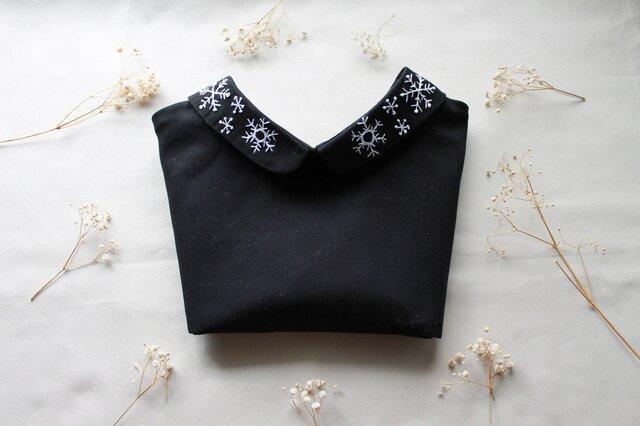 前後リバーシブルタイプのつけ襟~雪の結晶の付け襟~の画像1枚目