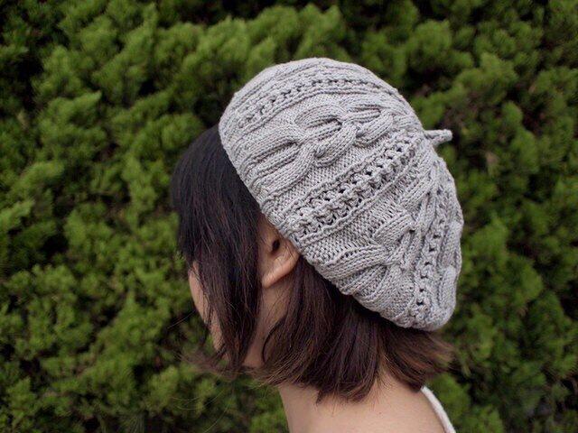 模様編みのベレー風どんぐり帽子【グレー】の画像1枚目