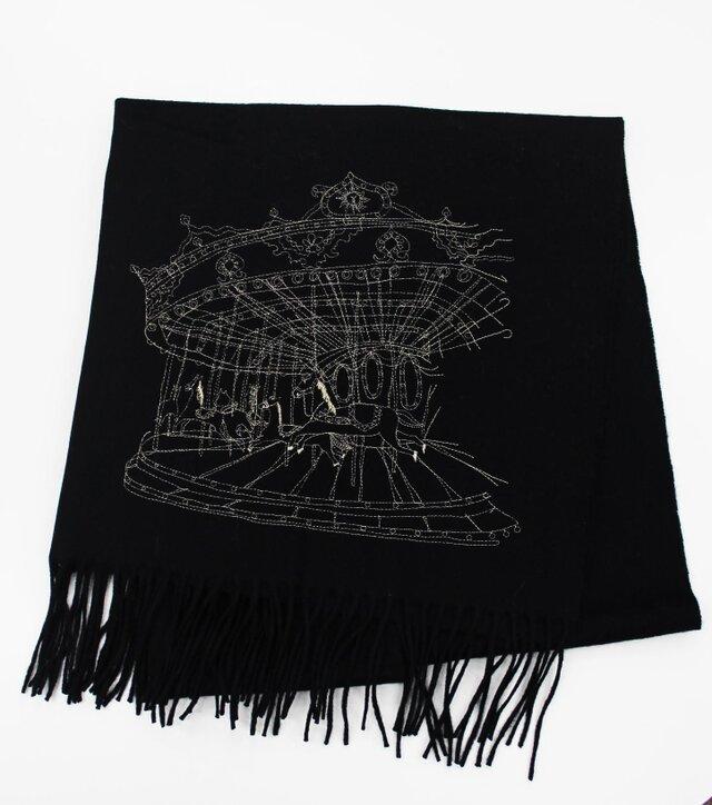 メリーゴーラウンド刺繍ウールストール(ブラック)の画像1枚目