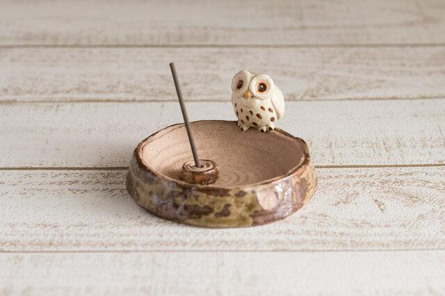 陶器のお香立て コノハズクの画像1枚目