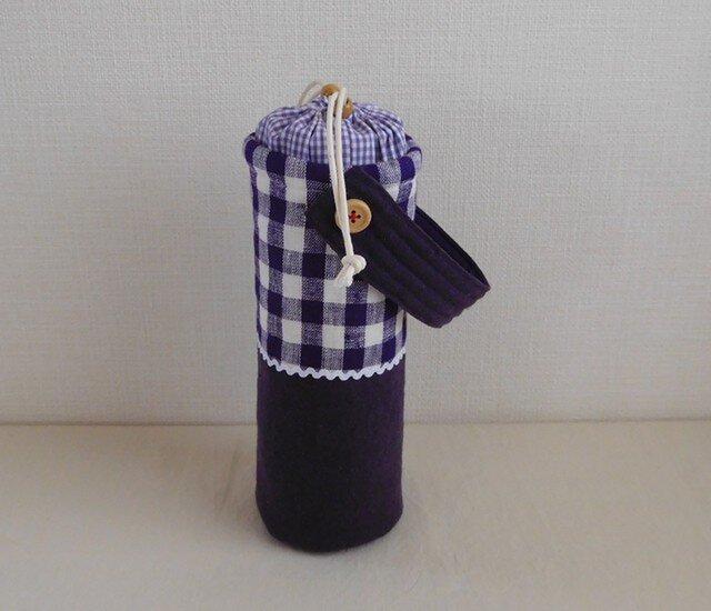 保温マグボトルケース 紫チェックの画像1枚目