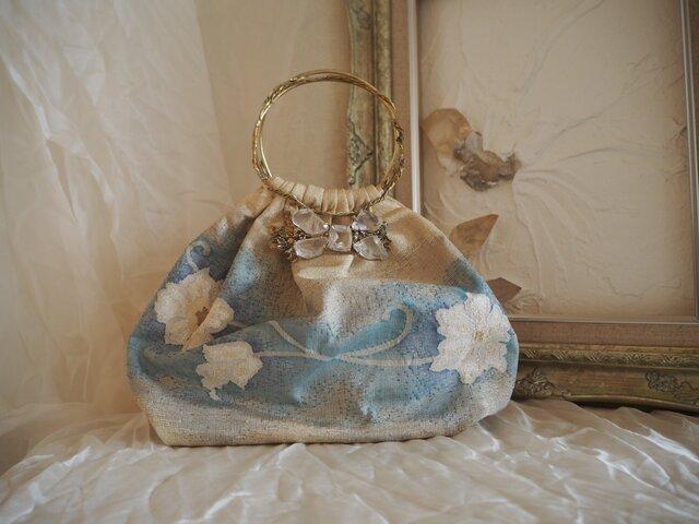 帯と天然石の可憐な小ぶりバッグの画像1枚目