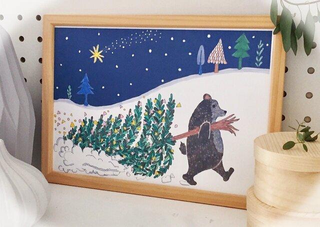 812【北欧風クリスマスの準備をするクマのインテリアポスター】A4・A3の画像1枚目