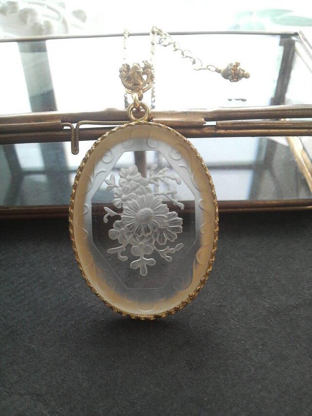 ヴィンテージ クリスタル/フロストBouquet エレガントネックレス(Brass-Gold)の画像1枚目