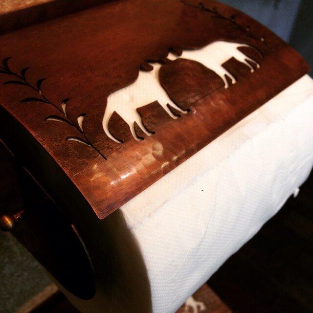 銅製ペーパーホルダー(犬)の画像1枚目
