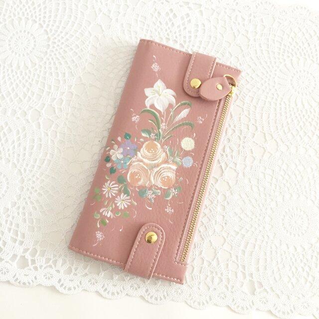 花ペイント カードケース(サーモンピンク)_バラとユリ【受注制作】の画像1枚目