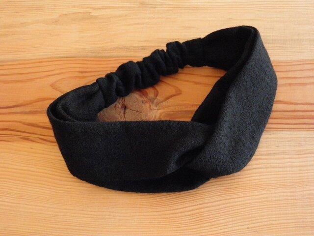 ねじりヘアバンド 黒のウールガーゼの画像1枚目
