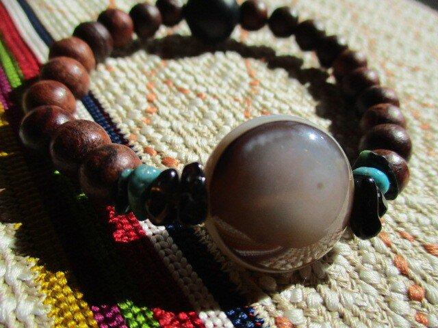 開光瑪瑙珠 鑑別済/黒水晶 ターコイズ チベット産羊眼天珠 108珠お念誦よりの木珠 ブレスレットの画像1枚目