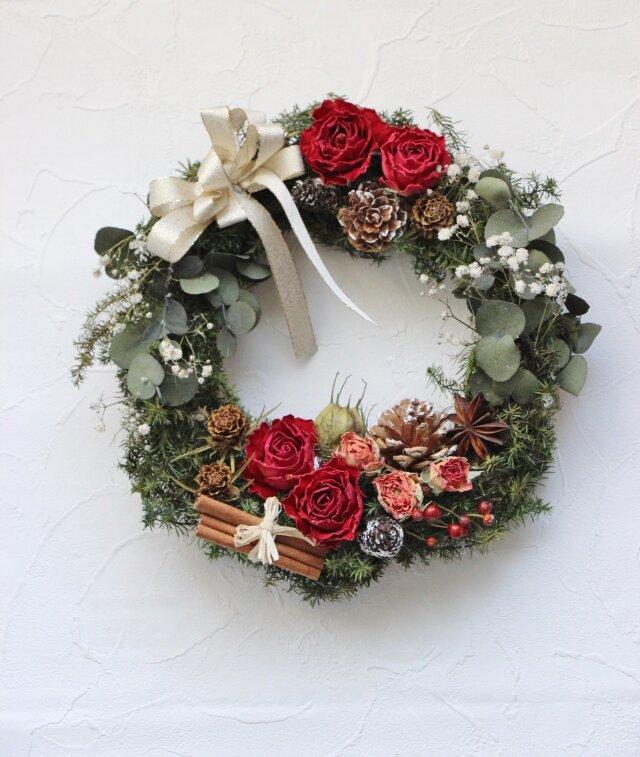 バラとユーカリのクリスマスリース☆の画像1枚目