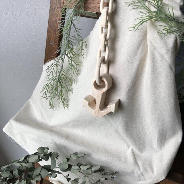 木のチェーン付き♪壁にも飾れるイカリのオブジェ Mの画像1枚目