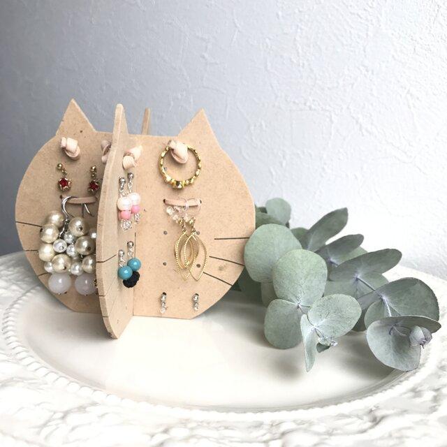 オーダーメイド   飾って見せる収納♪小さなネコの可愛いピアスホルダーアクセサリースタンドの画像1枚目