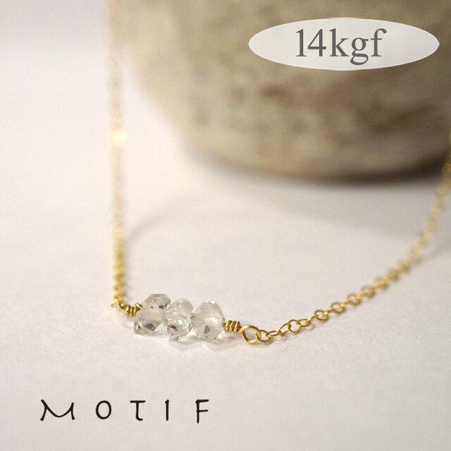 ハーキマーダイアモンド3粒ネックレス14kgfの画像1枚目