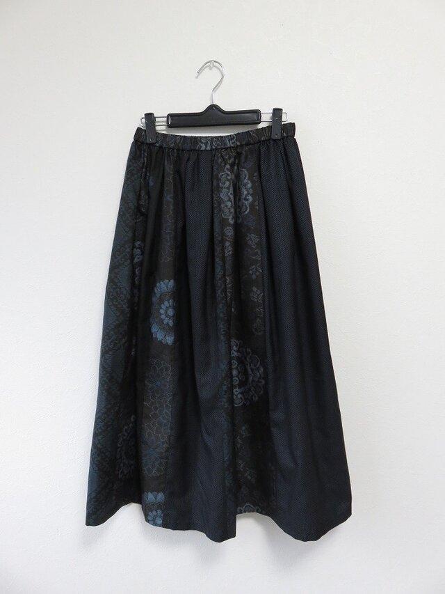 *アンティーク着物*泥大島紬のパッチスカート・スヌードセット(裏地つき)の画像1枚目