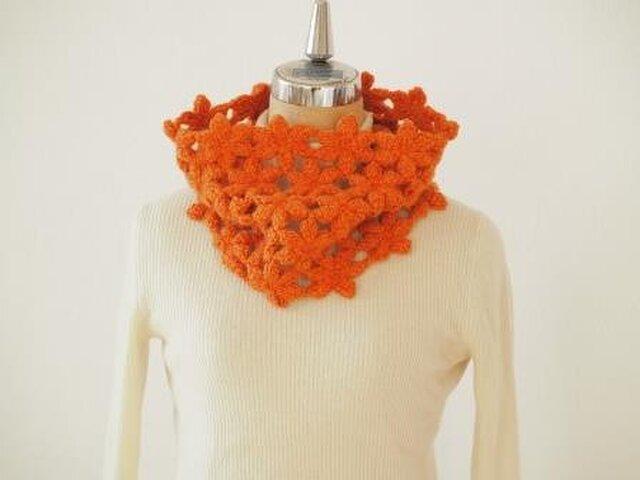 ウールアルパカのぽこぽこ花のネックウォーマー*オレンジの画像1枚目