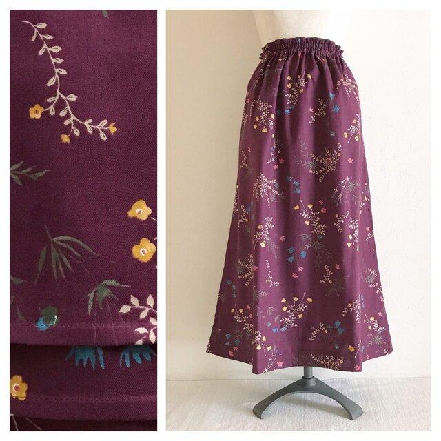 野の花揺れるシンプルAラインスカート(ワイン)の画像1枚目