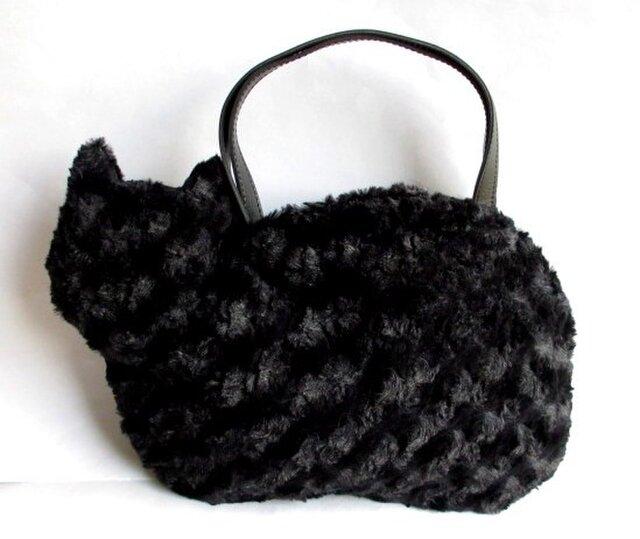 ネコバッグ*ふわふわファーまっくろ黒猫の画像1枚目