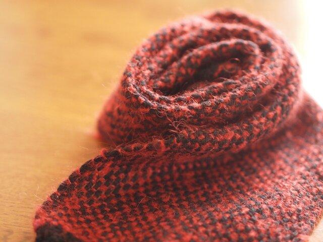 [受注製作]モヘアの手織りミニマフラー(red)の画像1枚目