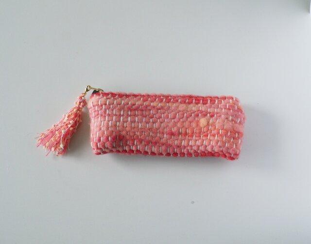 『strawberry au leit』 めがねポーチ 手織り  眼鏡ケース  コスメの画像1枚目