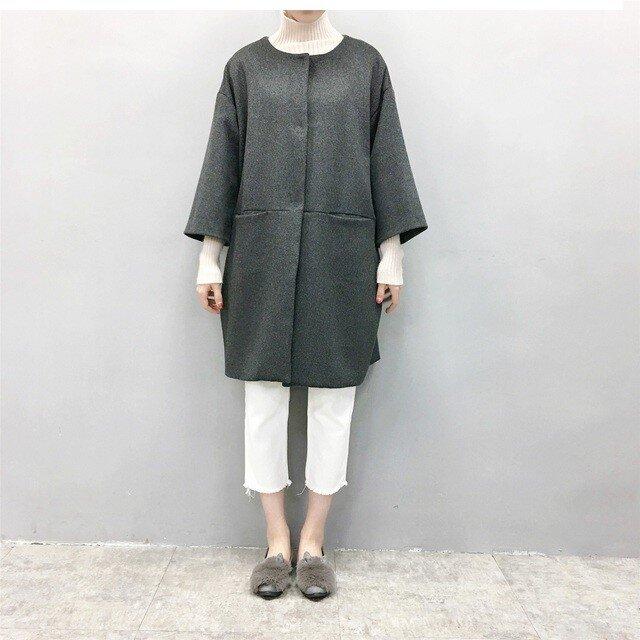 ☆en-en濃灰ミニシャギーウール・コクーンコート・濃いグレー(裏地付き)の画像1枚目