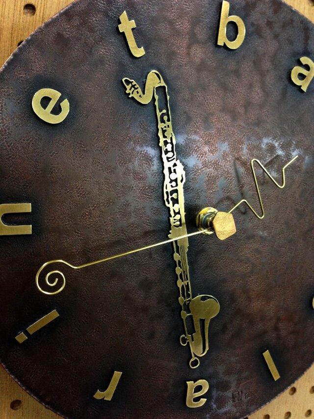 オーダーメイド「掛け時計/銅・真鍮製」(例:バスクラリネットでのオーダー)の画像1枚目