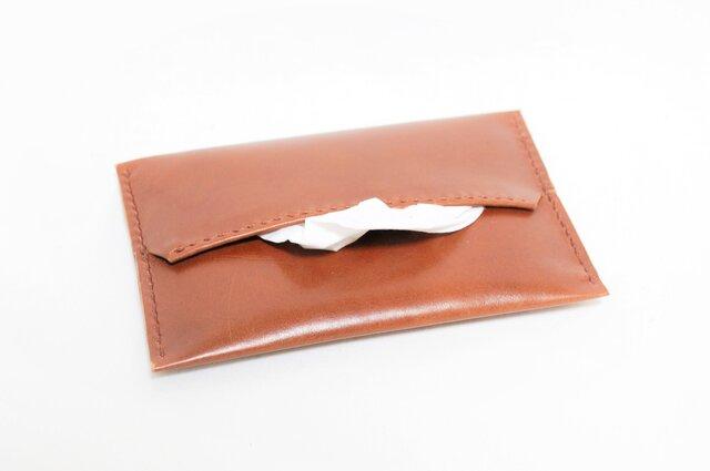 革のポケットティッシュカバー(茶:ブラウン)の画像1枚目