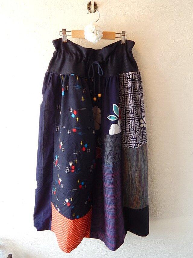 KIMONOスカート ネイビーの画像1枚目