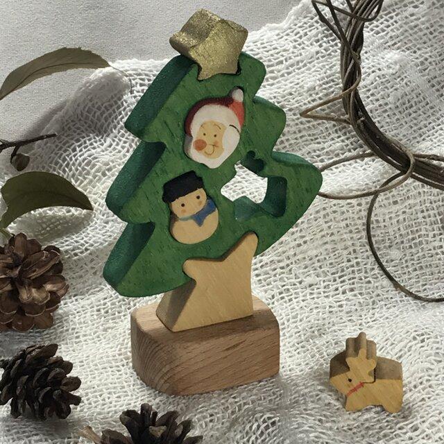 「ミニ」彩色組み木絵のXマスツリーの画像1枚目